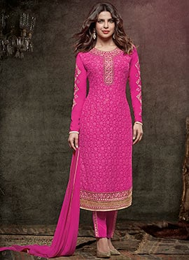 Priyanka Chopra Pink Embroidered Straight Suit