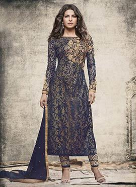 Priyanka Chopra Navy Blue Straight Pant Suit