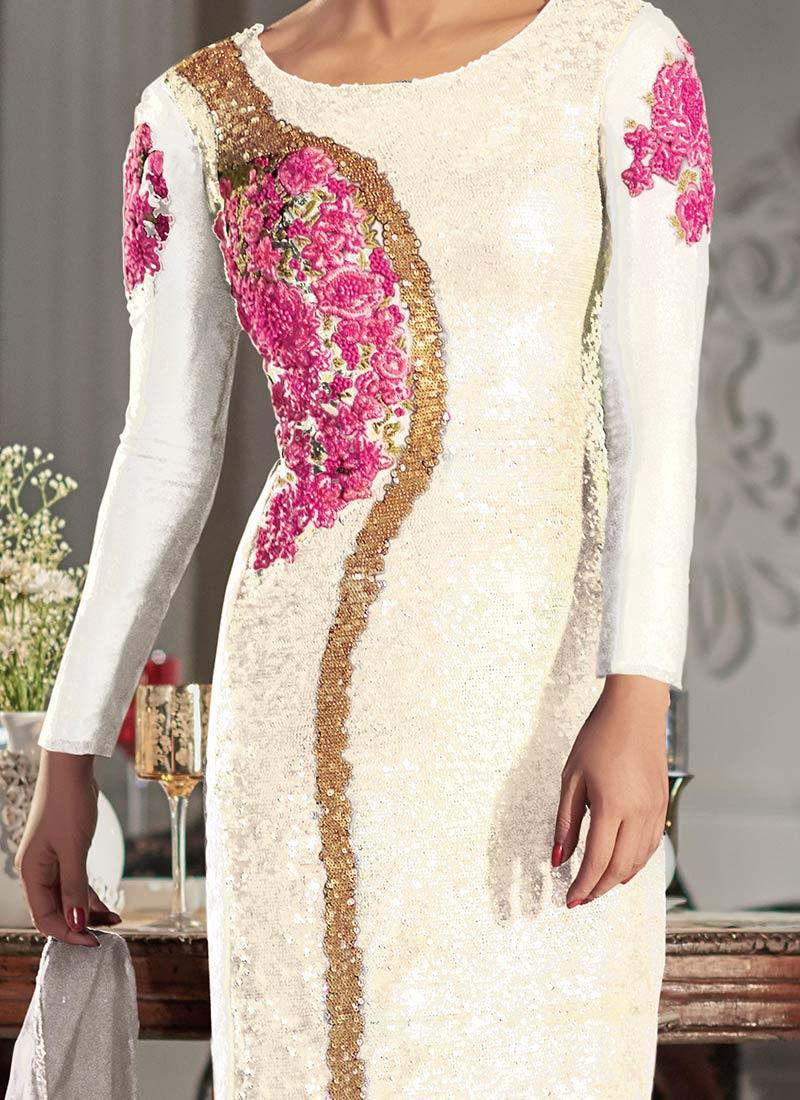 0b15994cf6 Buy Priyanka Chopra Off White Churidar Suit, Sequins , Embroidered ...