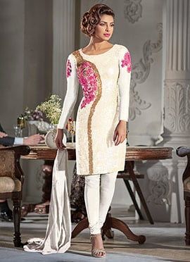 Priyanka Chopra Off White Churidar Suit