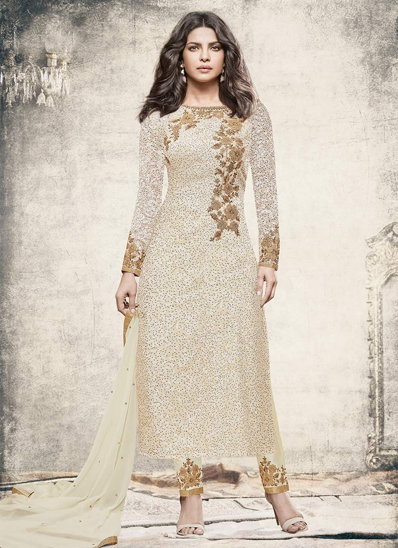 Buy Priyanka Chopra Off White Straight Pant Suit, Embroidered ...