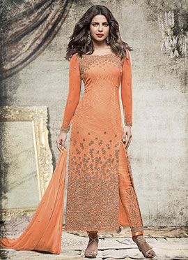 Priyanka Chopra Orange Chiffon Straight Pant Suit