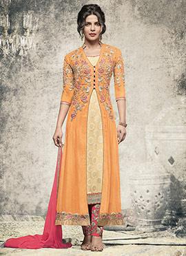Priyanka Chopra Orange Georgette Straight Pant Suit