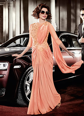 Priyanka Chopra Peach Saree Gown