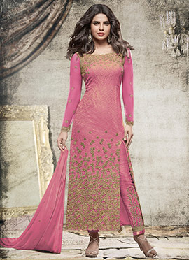 Priyanka Chopra Pink Chiffon Straight Pant Suit