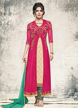 Priyanka Chopra Pink Georgette Anarkali Suit