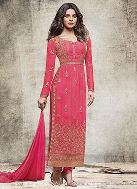 Priyanka Chopra Pink Georgette Straight Suit