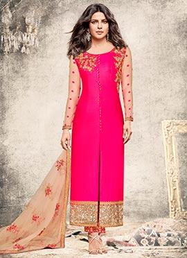 Priyanka Chopra Rani Pink Straight Pant Suit
