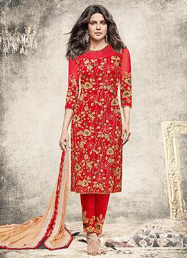 Priyanka Chopra Red Net Straight Pant Suit