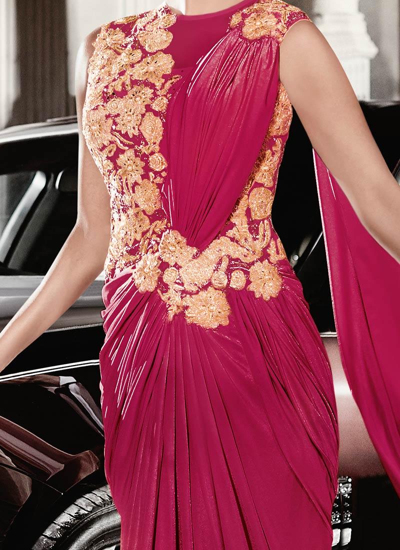 Buy Priyanka Chopra Reddish Pink Saree Gown Beads