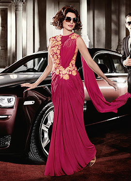 Priyanka Chopra Reddish Pink Saree Gown