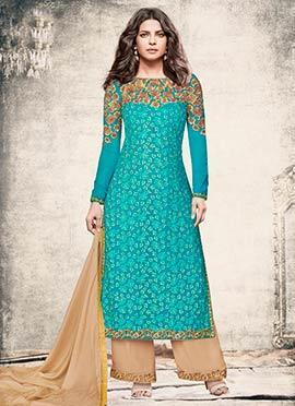 Priyanka Chopra Teal Blue Embroidered Palazzo Suit