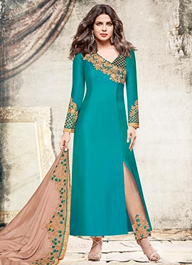 Priyanka Chopra Teal Embroidered Straight Pant Suit