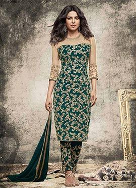 Priyanka Chopra Teal Green Georgette Straight Pant Suit