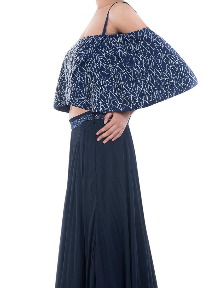 4a9c83bbdcd3 Buy Prussian Blue Off shoulder Cape N Skirt Set, Sequins ...