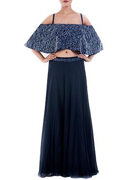 Prussian Blue Off shoulder Cape N Skirt Set