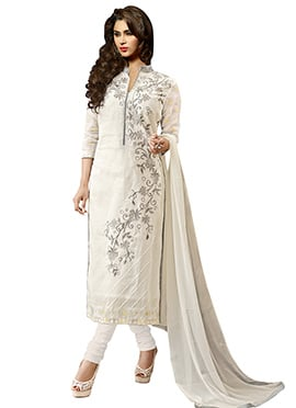 Pure Cambric Cotton Embroidered Straight Suit