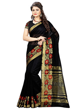 Pure Cotton Black Floral Patterned Border Saree