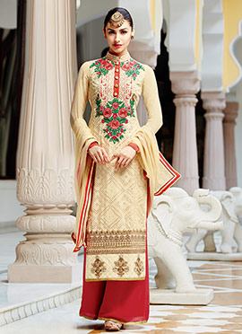 Pure Georgette Embroidered Palazzo Suit