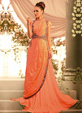 Pure Georgette N Chantilly Net Saree Gown