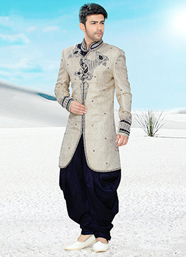 Pure Jamewar Silk Indowestern Sherwani