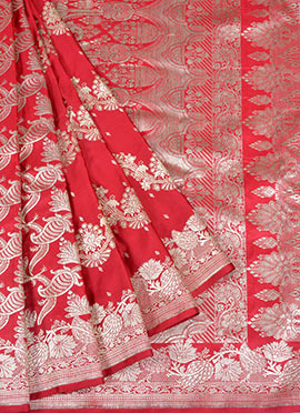 Pure Red Handloom Benarasi Silk Saree