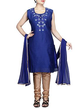 Chanderi Pure Silk Cotton Navy Blue Churidar Suit