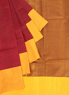 Pure Silk Maroon N Burgundy Pothys Saree