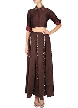 Pure Silk N Georgette Skirt Set