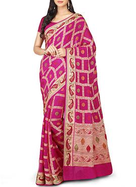 Pure Silk Zari N Resham Weaved Magenta Saree