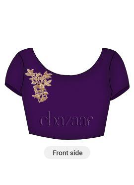 Purple Acai Dupion Silk Embroidered Blouse