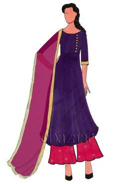 Purple Acai Dupion Silk Palazzo Suit