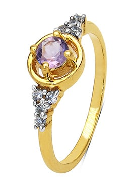 Purple Amethyst N Gold Plated Ring