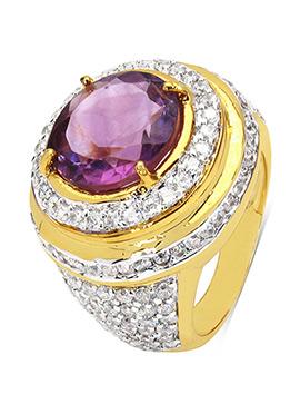 Purple Amethyst N White Cubic Zirconia Ring