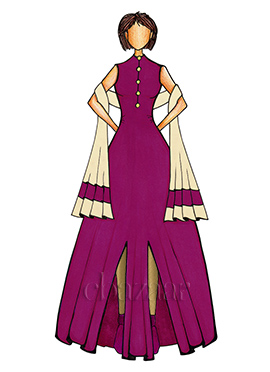 Purple and Gold Anarkali Suit