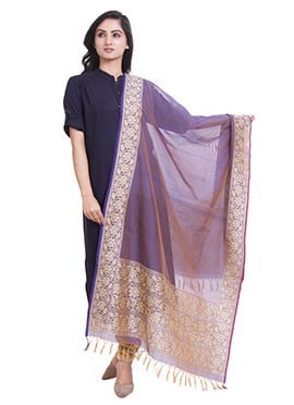Purple Art Benarasi Silk Dupatta