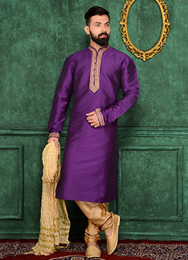 Purple Art Benarasi Silk Kurta Pyjama