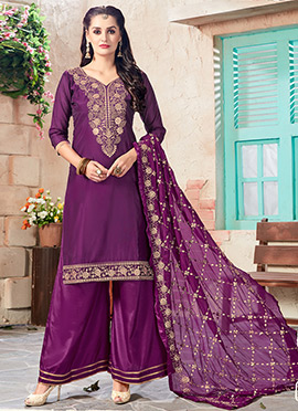 Purple Art Chanderi Silk Palazzo Suit