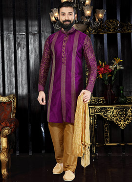 Purple Art Dupion Silk Indo western kurta Pyjama
