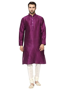 Purple Art Dupion Silk Kurta