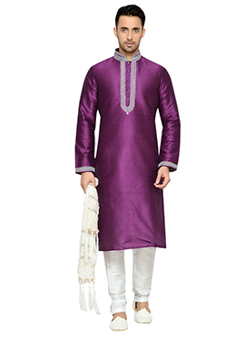 Purple Art Dupion Silk Kurta Pyjama