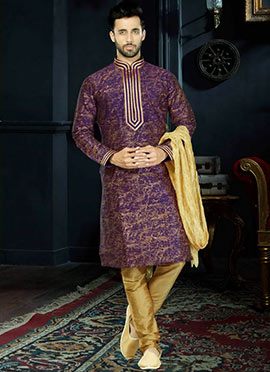 Purple Art Dupion Silk Kurta Pyjama
