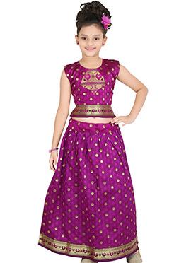 Purple Art Dupion Silk Pavadai Set