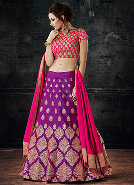 Purple Art Silk A Line Lehenga