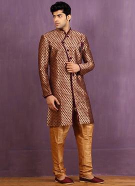 Gold N Purple Art Silk Achkan Sherwani