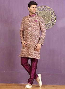 Purple Art Silk Achkan Sherwani