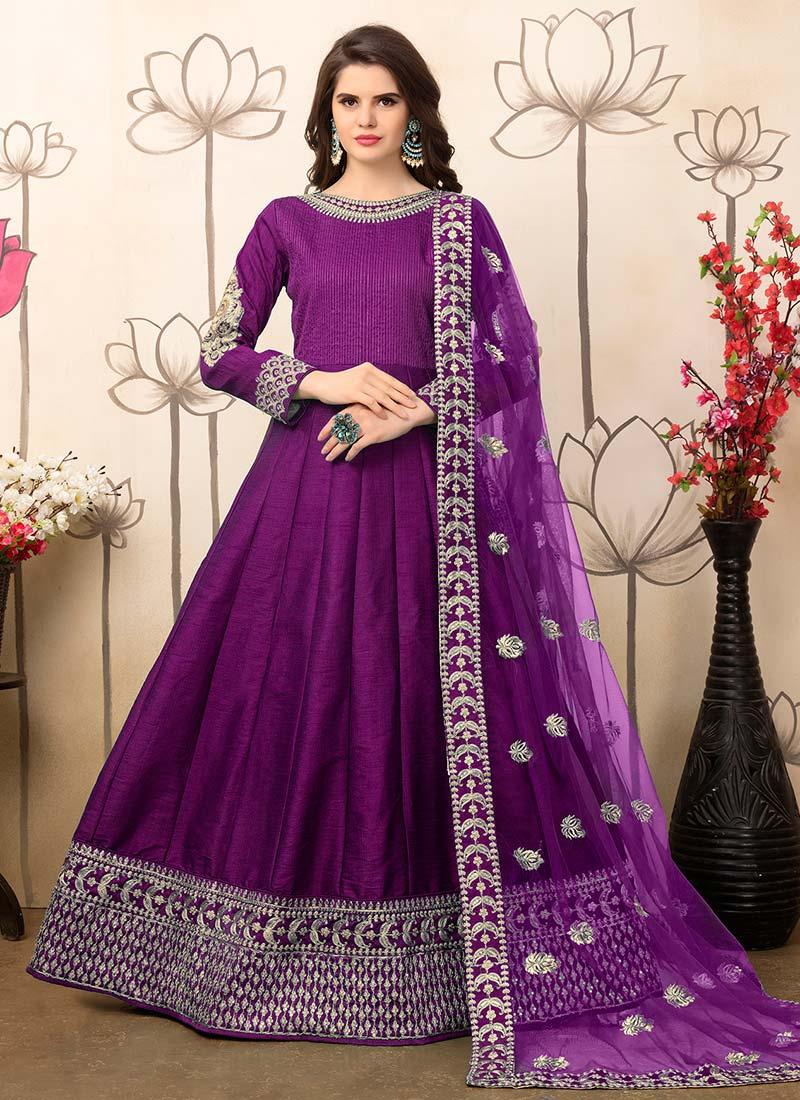 Buy Purple Art Silk Anarkali Suit, anarkali-suit Online Shopping ...