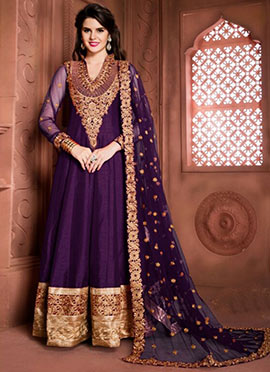 Purple Art Silk Anarkali Suit