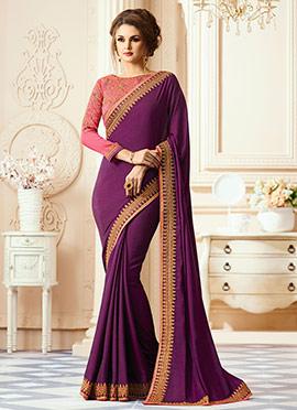 Purple Art Silk Border Saree