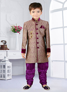 Purple Art Silk Breeches Style Kids Sherwani